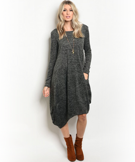Charcoal Gray Bag Asymmetrical  Dress