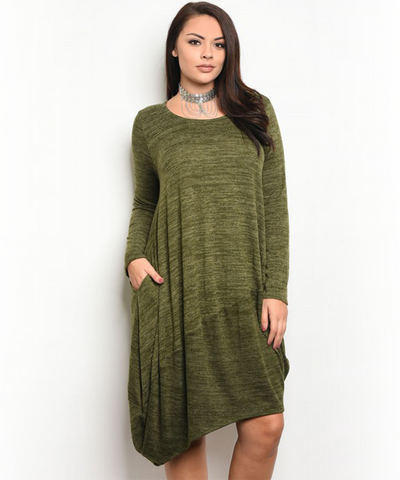 Olive Bag Dress Asymmetrical
