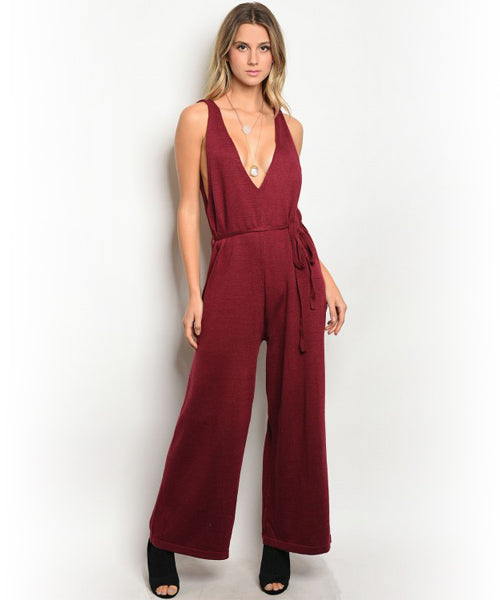 Burgundy Knit Jumpsuit