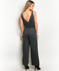 Charcoal Gray  Knit Jumpsuit