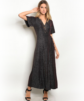 Shimmery Black Silver and Red Wrap Dress