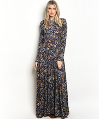 Boho Navy Brown Flowers Dress