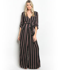 Black Red and Green Striped Jumpsuit