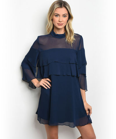 Navy Blue Sheer Tiered Sleeve Top