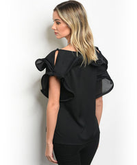 Black Flared Ruffled Top