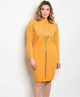 Curvy7 Golden Stone Detailed Dress