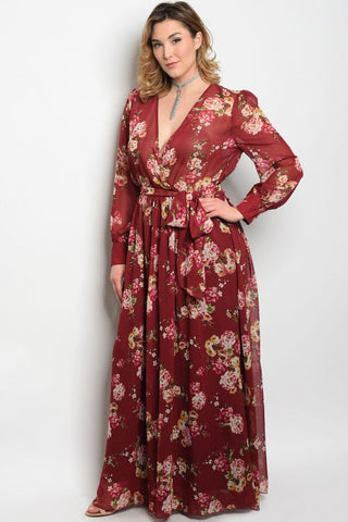 Curvy7 Burgundy Flower Dress