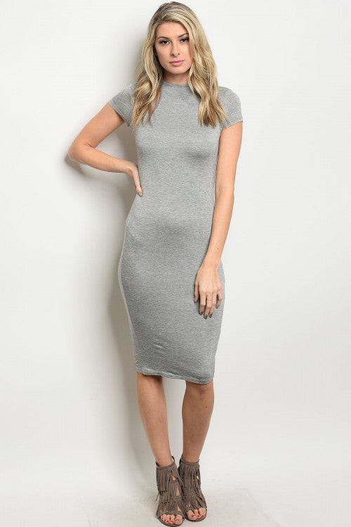 Iconic7 Gray Slimming Bodycon  Dress