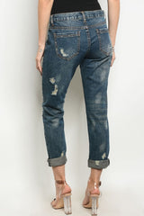 Gold Stone Embellished Distressed Jeans