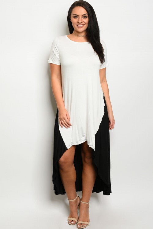 Curvy7 White and Black Dress/ Top