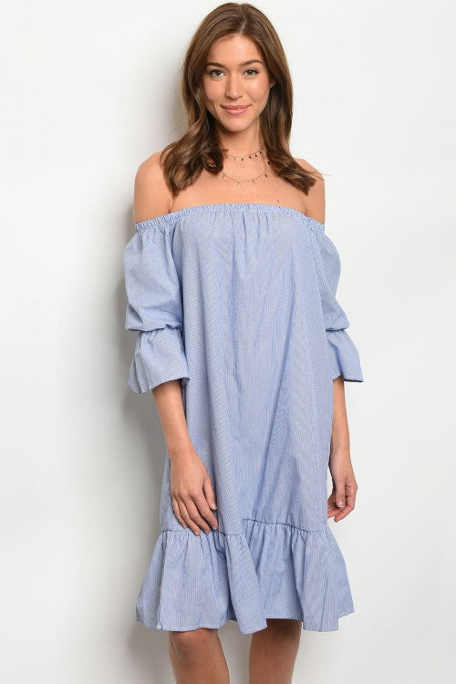 Blue and White Puff Sleeve Poplin Dress