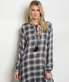 Plaid Boho Tassel Top/Dress