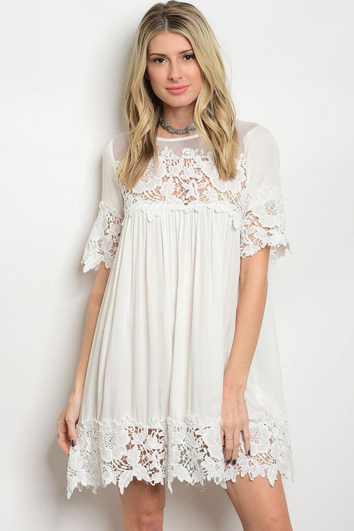 White Large Pattern Lace Dress/Top