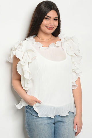 Curvy7 Ivory Flared Ruffle Top