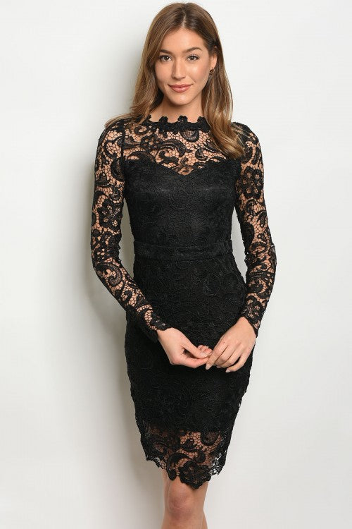 Black Lace Embroidery  Dress
