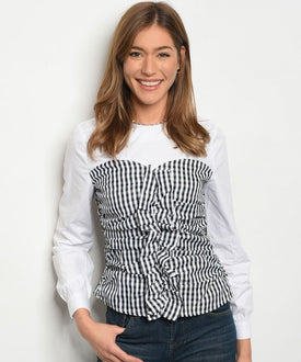 White and Black Gingham Top
