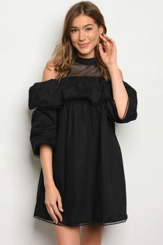 Black Mesh Cold Shoulder Top/ Dress