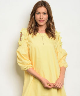 Yellow Flower Cold Shoulder Dress