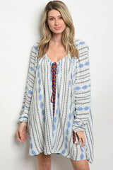 Boho White and Royal Blue Cover Up/Top