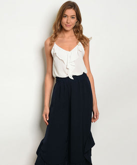 Navy Blue Ruffle Wide Leg Trousers