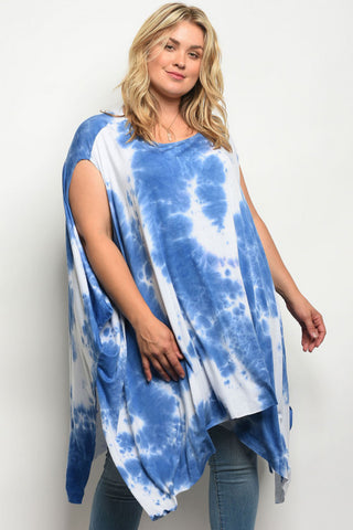Curvy7 Blue and White Tie-Dye Draping Top