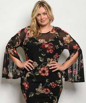 Curvy7 Black Sheer Flowers Dress