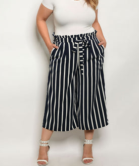 Curvy7 Navy Blue and White Wide Leg Trousers