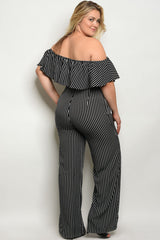 Curvy7 High Waisted Black and White Striped Pants