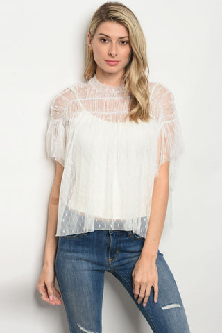 White Polka Dot Sheer Flutter Top