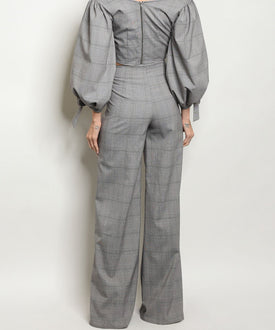 Gray and Black Plaid Wide Leg High-Waisted Pants