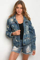 Distressed Graffiti Denim Jacket
