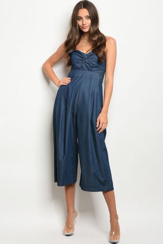 Dark Denim Sweetheart Strapless Jumpsuit