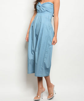 Light Denim Sweetheart Strapless Jumpsuit