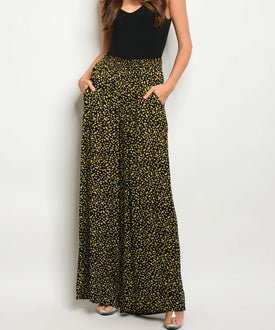 Black & Yellow Lemon Wide-Legged Pants