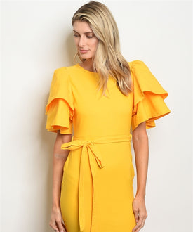 Yellow Doubled Sleeve Dress