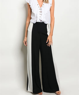 Black & White Wide-Legged Pants