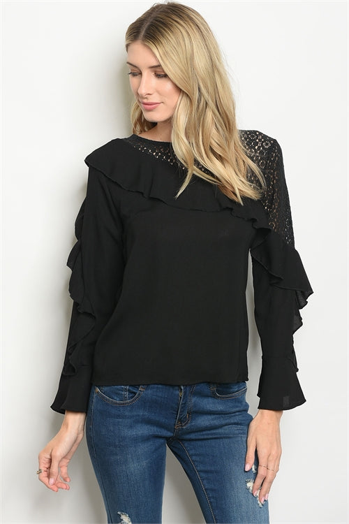 Black Asymmetrical Lace and Ruffle To