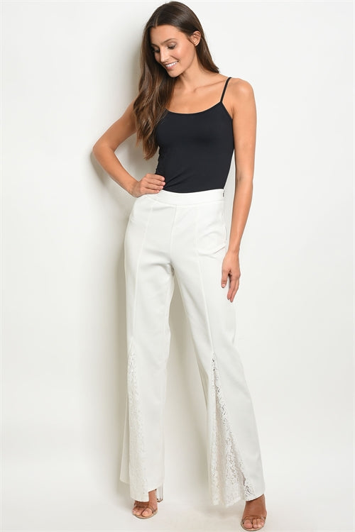 Ivory Lace Bell Bottom Pants