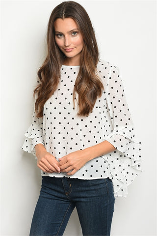 Draping Sleeve Polka Dot Top