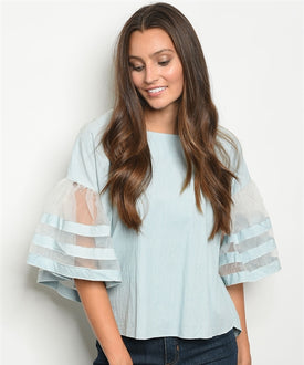 Light Blue Sheer Bouffant Sleeve Top