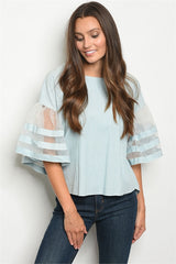 Light Blue Tiered Sleeve Top