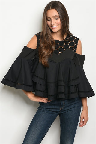 Black Embroidered Lace Cold Shoulder Top
