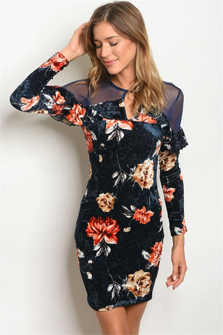 Blue Velvet Sheer Floral Bodycon Dress