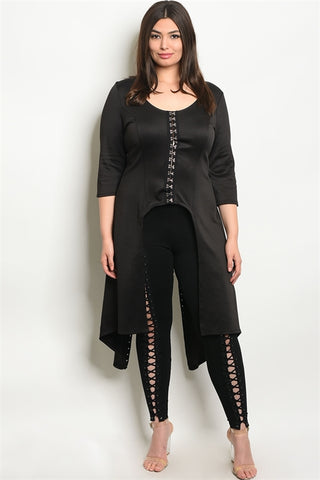 Curvy7 Black Latch and Hook Lace-Up Top