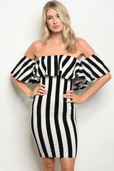 Ivory and Black Felt Striped Bodycon