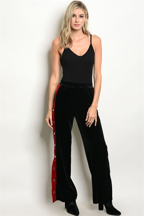 Red and Black Velour Pants