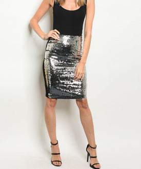 Silver/Black Sequins Pencil Skirt