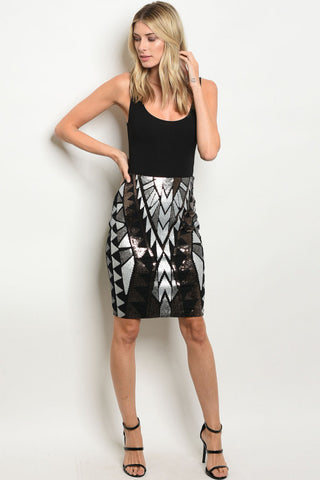 Sequins Tribal Pattern Pencil Skirt