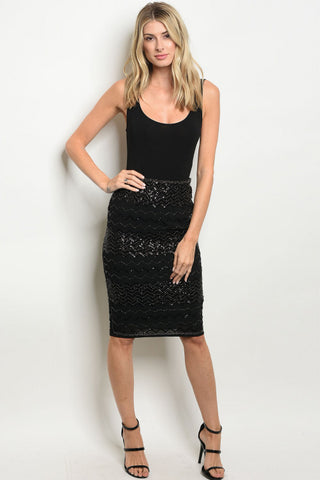 Black Beaded Sequin Skirt
