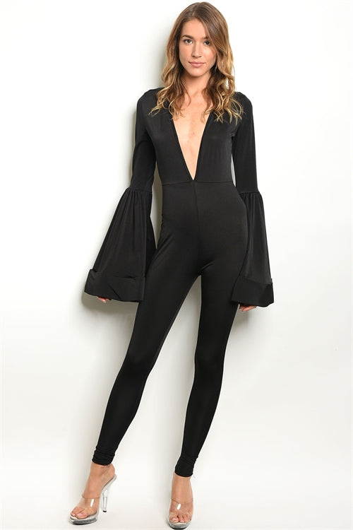 Black Flared Arm Jumpsuit
